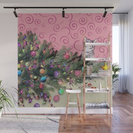 Cat knocked over the Christmas tree Wall Mural
