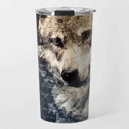 Vintage wolf, Mixed media Wolf Art, Wolf Painting, Wolf Decor, Best Wolf, Cool, Wolf Travel Mug