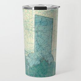 Massachusetts State Map Blue Vintage Travel Mug