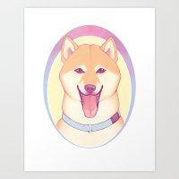 shiba inu Art Prints featuring Shiba Inu by daftmue