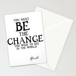 Be The Change - Gandhi Inspirational Action Quote Stationery Cards