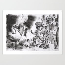"""Teens Fighting a Goose"" (from Farts 'N' Crafts episode 5) Art Print"