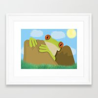 frog Framed Art Prints featuring Frog by Nir P