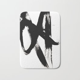 Brushstroke 2 - simple black and white Bath Mat
