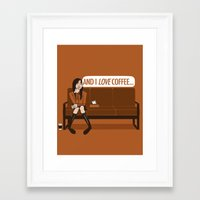 gilmore girls Framed Art Prints featuring and I LOVE Coffee... / Gilmore Girls Quote by shecanliftahorse