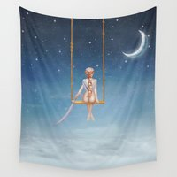 toddler Wall Tapestries featuring The lovely girl shakes on a swing by natalia.maroz