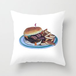 Bacon Cheeseburger and Fries Throw Pillow