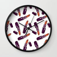 lipstick Wall Clocks featuring Lipstick  by Kate & Oleg