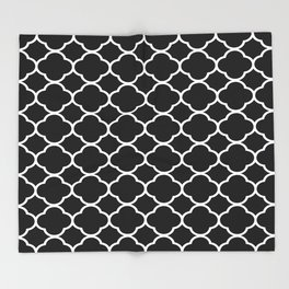Black & White Moroccan Quatrefoil Design Throw Blanket