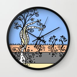 Strong Roots - Blue Mustard Yellow Wall Clock