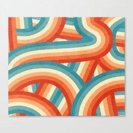 Red, Orange, Blue and Cream 70's Style Rainbow Stripes Canvas Print