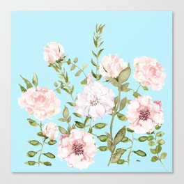 Blush Watercolor Spring Florals Meadow On Teal Canvas Print