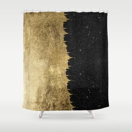 Faux Gold and Black Starry Night Brushstrokes Shower Curtain