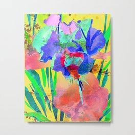 Fluorescent Watercolor Iris Art - Sun Yellow & Peach Metal Print