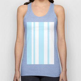Mixed Vertical Stripes - White and Light Blue Unisex Tank Top