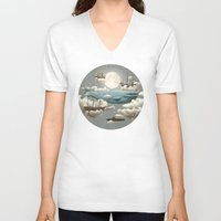 duvet cover V-neck T-shirts featuring Ocean Meets Sky by Terry Fan