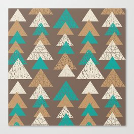 Abstract brown and turquoise pattern of triangels Canvas Print