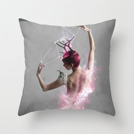 Escape from the bottle Throw Pillow
