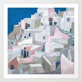greece houses santorini Art Print