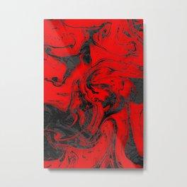 Black & Red Marble Metal Print