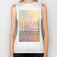 sailboat Biker Tanks featuring Sailboat Flyby by 3crows