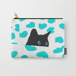 Cat on Blanket with Hearts Carry-All Pouch