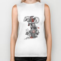 england Biker Tanks featuring England Doodle by Rebecca Bear