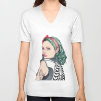 girl V-neck T-shirts featuring GIRL by Laura O'Connor