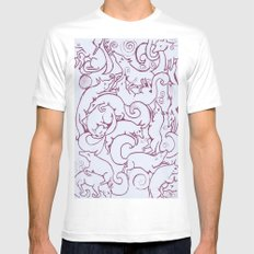 Fox Pattern Screen Print MEDIUM Mens Fitted Tee White