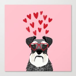 Schnauzer head valentines day dog breed gifts for pure breed rescue dogs Canvas Print