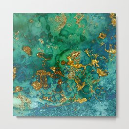 Malachite and Gold Glitter Stone Ink Abstract Gem Glamour Marble Metal Print