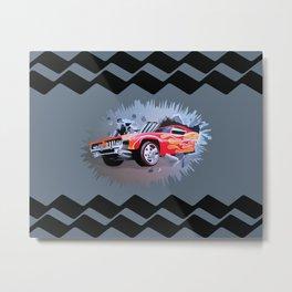 Hot Wheels Car Crashing Through Grey Wall Metal Print