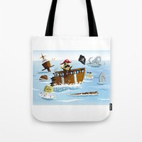 pirates Tote Bags featuring Pirates by modernagestudio