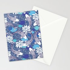 Blue Koi Ripples Stationery Cards