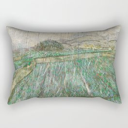 Vincent Van Gogh Wheat Field In Rain Rectangular Pillow