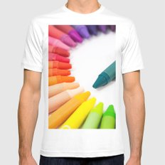 Crayon Rainbow Mens Fitted Tee MEDIUM White