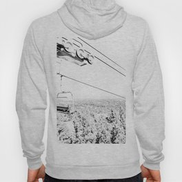 Chairlift // Mountain Ascent Black and White City Photograph Hoody