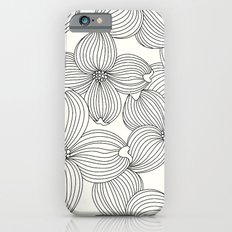 Dogwood Floral Linear: Black Ivory iPhone 6s Slim Case