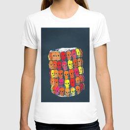 colorful  skulls ceramic vase T-shirt