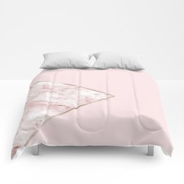 Blush pink geo - pink marble Comforters
