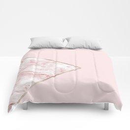 Blush pink geo - pink marble Comforters