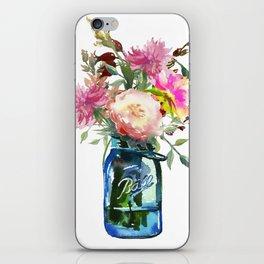 Pink Peonies in Mason Jar iPhone Skin