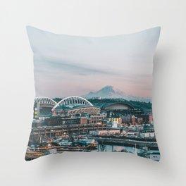 Seattle & Mount Rainier Throw Pillow