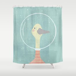 Space Goose (pastels) Shower Curtain