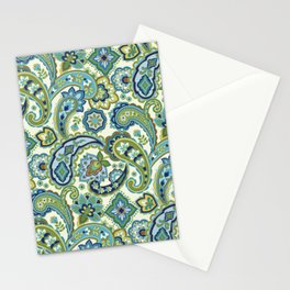 Blue and Green Paisley Stationery Cards