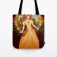 nouveau Tote Bags featuring Daisy Nouveau by Megan Lara