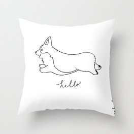 Pembroke Welsh Corgi - Hello Throw Pillow