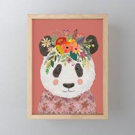 Cut Panda Bear with flower crown. Cute decor for kids Framed Mini Art Print