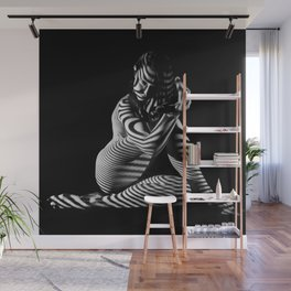 0526s-MM B&W Seated Woman Zebra Striped Abstract Nude Photograph Wall Mural