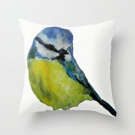 Wild English Garden Bird Blue Tit Contemporary Acrylic Painting White Edit Throw Pillow